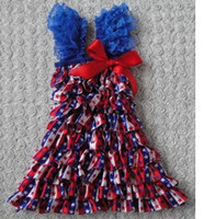 Summer baby blue ribbon - Independence day baby dresses th of july girls dress with ribbon bow kids lace fly sleeve blue white stars dresses