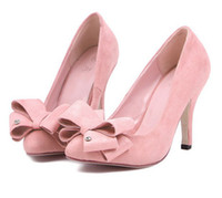 Women Pumps Spring and Fall 2014 Rushed Limited Freeshipping Closed Toe Flock Pointed Toe High-heeled Single Shoesladies Spring Bow Women's Stiletto Shoes