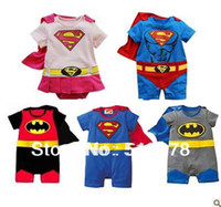 Wholesale Baby romper clothing cotton boy girl Halloween kids superman supergirl with cloak show wholesaler batman christmas Santa Claus
