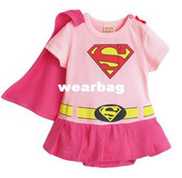 Wholesale Fashion Girl Baby Infant Toddler Kid Superman Romper Costume Dress w Removable Cape Pink Months Baby clothes