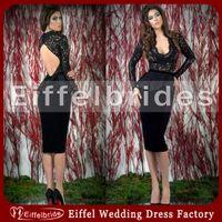 Scoop black velvet dress - Latest Pictures of Women Wearing Cocktail Dress with Sexy Lace Scoop Neckline and Elegant Long Sleeve Soft Velvet Black Evening Dresses