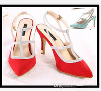 Women Stiletto Heel  New Fashion cheap sandals candy colors red green hollow out T strappy stiletto heel fashion high heels sandals