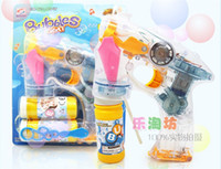 Wholesale 96PCS Bubble guns electric music fully automatic bubble gun children toy luminous transparent with bottle bubble water