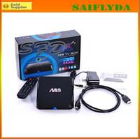 Wholesale 2014 Latest M8 Quad Core Android Smart TV Box Amlogic S802 GB GB Mali GPU G G KitKat XBMC Dhl free shiping