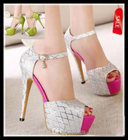 Wholesale Lowest Price glitter silver pink toe high heel pump platform shoes peep toe prom dress wedding shoes green heels EU34