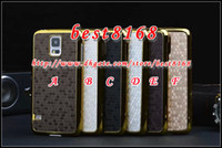Wholesale Bling Football Chrome Electroplate Metal Alloy Gold Hard Plastic Case For Samsung GALAXY S5 I9600 S4 I9500 SV Mini Skin cover Aluminum