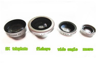 Wholesale Magnetic in Wide Angle lens Macro lens Fish Eye X telephoto Lens Kit Set for Phone S C S iPad Samsung Note Cell Phone