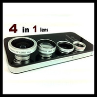 Cheap Magnetic 4 in 1 Wide Angle lens Macro lens 180 Fish Eye 2X telephoto Lens Kit Set for iPhone 5 5S 5C 4 4S iPod iPad Air Note 2 3