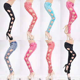 Wholesale HOT LADY Vintage Side Bow Cutout Ripped Denim Sexy Jeans Trousers Jeggings