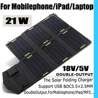 Wholesale High power W Solar chargaer floding USB port to charge portable panel for iPad iphone samsung laptop mobilephone