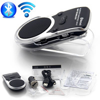 Wholesale Bluetooth Car Kit Solar wireless car bluetooth two link Solar Powered Handsfree Call Car Kit New Arrival