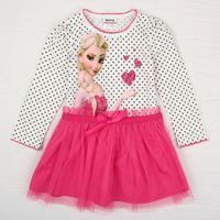 Wholesale Newest Girls Dresses Baby Summer Cartoon Elsa Princess Cotton Dress Baby clothes Children Lace dress
