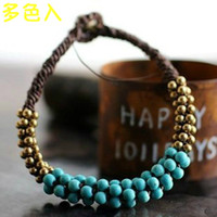 Charm Bracelets Other Red white and blue color free shinppingFeatures national wind retro jewelry export Thai handicrafts turquoise coral beads December copper wire woven bracelet female