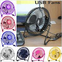 Wholesale USB Electric Metal Head Fan Rotate Metel Mute Radiator Fan Mini Portable Cooler Cooling Desktop Power PC Laptop Desk Fan