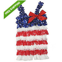 Unisex Summer Lace 4th July baby lace Petti romper white red patriotic star lace romper Jumpsuit Infant children clothes 10PCS lot