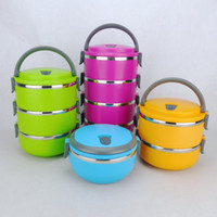 Metal Dinnerware Sets Stainless Steel Free shipping Four Layer Stainless Steel Children Lunch Box 2.8L Keep Warm Food Container For Kids #S0215