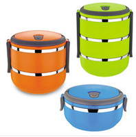 Metal Dinnerware Sets Stainless Steel Free shipping Homio Three Layer Stainless Steel Children Lunch Box 2.1L Keep Warm Food Container For Kids #S0187