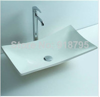 corian solid surface - New Design Rectangular Cloakroom Solid Surface Stone Counter top Vessel Sinks Corian Bathroom Wash Basin RS3808