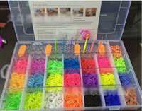 8-11 Years band in a box - 8 off hot sale rainbow loom kits color rubber bands a weaver S hook six crochet a manual pendants in a box DROP SHIPPING OM