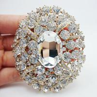achat en gros de plaqué or 18k de haute qualité-Mode en gros de haute qualité magnifiques cristaux blanc strass claires ovale 18K Art Nouveau Broche pendentif plaqué or