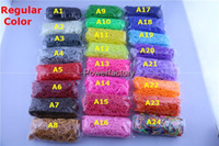 Wholesale 94 colors Rainbow Loom Kit DIY Wrist Bands Dual camouflage Clear dot metal Jelly Bracelet for kids bands C or S clips