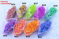 Wholesale 94 colors Rainbow Loom Kit DIY Wrist Bands camouflage Clear dot metal Jelly Bracelet for kids bands C or S clips by dhl