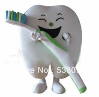 dental costumes - Healthy Good Tooth with Tooth Brush Mascot Costume Cartoon Character Dental Care Advertising Costumes Stage Props FreeShip SW390