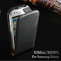 For Samsung Leather Yes Black White Genuine Leather Flip Case Cover for Samsung Galaxy S3 Mini i8190 Mobile Phone Bag Drop Ship
