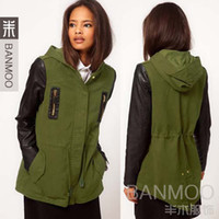 Free shipping new 2013 army green PU leather patchwork long sleeve plus size winter coat for women with cap 930002