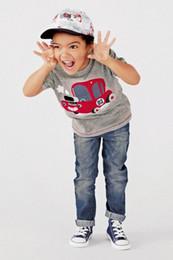 Children T-shirts 6009 Bus Gray Cartoon Cotton Short Sleeve Summer T-shirts For Kids