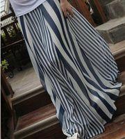 Chiffon Long Chiffon+Polyester Casual Womens Long Skirts Irregular Stripes Full-length Maxi Chiffon