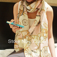 Scarves Yes Character 2014 New Year Sale,Beach Shawl Sarong,160*70 cm Brand Designer Retro Small Wagon Chain Pattern Chiffon Long Silk Scarf for Women