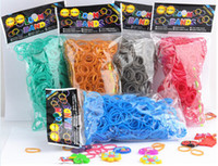 Wholesale 500set Pearl color rainbow rubber bracelet Rubber Loom Bands Including Rubber Bands S clip