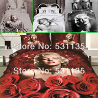 100% Cotton Woven Twill Red roses Marilyn Monroe 3d bedding sets 4pcs 100%cotton for king queen size bedclothes duvet cover quilt bed linen comforters