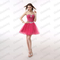 Reference Images Tulle Sweetheart Sweet Girls Mini Fuchsia Homecoming Dresses Tulle Sash Sweetheart Lace-Up Sequined Corset Short Graduation Gowns Party made In China WX