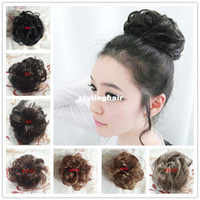 hair bun piece - hot sale colors avialable curly hair pieces buns rubber band synthetic chignons high quality hair bun