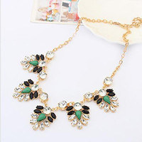 Chains Celtic Gift 2014 New Fashion Design Dress Rhinestone Shourouk Flower Leaf Chain Bib Neon Statement Necklace & Pendants Women Jewelry Gift