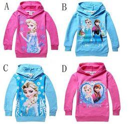 Wholesale Frozen girls dress Kids Cotton Sweater Girls hoodie models sweater sleeved frozen dresses T shirt Children GC040