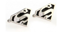 Cuff Links Men's Alloy Fashion Silver Red Superman Cufflink For Shirt French Cufflinks Fathers Day Gifts For Mens Jewelry Cuff Links Free Shipping C16