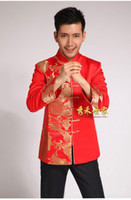 Wholesale 2014 traditional Chinese reformed Cheongsam qipao dress groom tuxedos longfeng toast clothing red wedding dress tang suit
