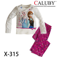 Wholesale Fashion New Korean cotton FROZEN pajamas children princess cartoon long sleeve T shirts pants set underwear kids clothing garment gmy