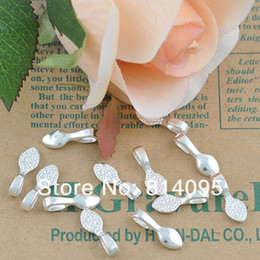 Wholesale Sterling Silver Plated water drop Glue on Bails Shiny Silver Bails for Glass Tile Pendants Making scrabble tiles diy