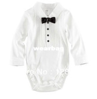Unisex Summer Baby Wholesale-3pcs lot,2013 summer baby boys gentleman short romper with bow tie One-piece clothes jumpsuits kids gentleman cotton rompers