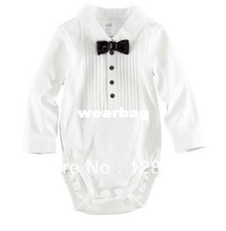 Wholesale summer baby boys gentleman short romper with bow tie One piece clothes jumpsuits kids gentleman cotton rompers