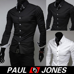 Wholesale Nice Quality PJ Men Fashion Designer Stylish Slim Fit Long Sleeve Shirts Casual Tops Size S XL Colors CL5009