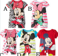 Girl Summer  Brand New Korean baby summer clothes Cartoon Mickey Minnie mouse Romper boys girls short sleeves cotton romper kids jumpsuit