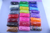 rainbow loom refill bands wholesale - 95 colors Solid Jelly Glitter Transparent Rainbow Loom Refill Rubber Bands Rainbow Loom Bracelet for kids bands S C clips