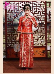 Wholesale New arrival traditional Chinese Cheongsam qipao dress Bridal gowns longfeng toast clothing red bride costume wedding dress two pieces