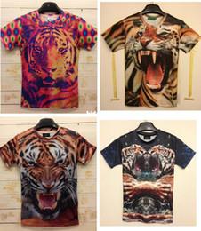 Wholesale-Free Shipping Fashion Animal Print 3D T shirt 3D Funny Crazy Tiger Print Tshirt Man Z009