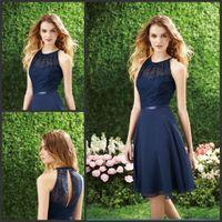 Wholesale 2017 Short Navy Blue Bridesmaid Dress Halter High Neck Cutout Back Lace Chiffon Knee Length Hollow Cheap Beach Bridesmaids Dresses